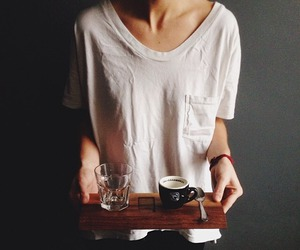 casual, coffee, and white t-shirt image