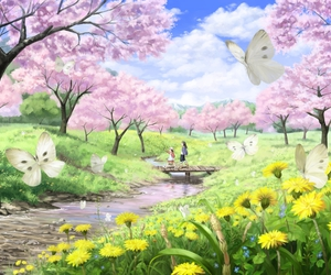 beautiful, landscape, and butterfly image