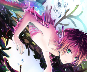 anime, mermaid, and anime boy image