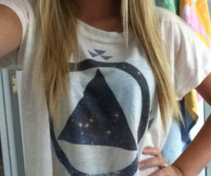 girl, hipster, and triangle image