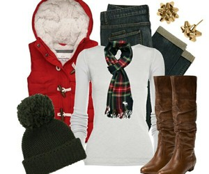 outfit, boots, and christmas image