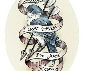 bird, tattoo, and scared image