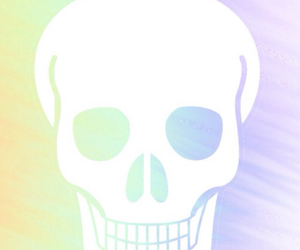skull, pastel, and rainbow image