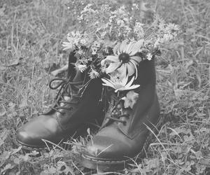 flowers, black, and boots image