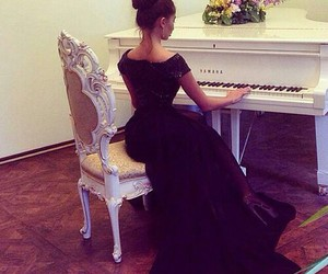 piano, dress, and black image