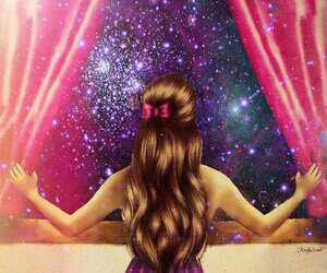 galaxy, girl, and hair image