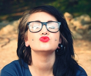 girl, piercing, and glasses image