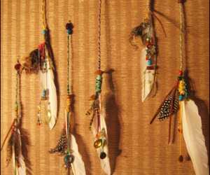 artsy, beads, and feathers image