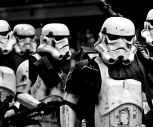 star wars and black and white image