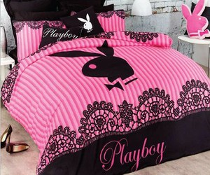 bed, bedroom, and Playboy image