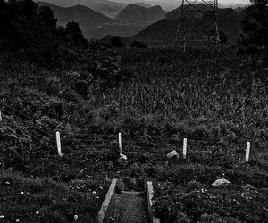 dark, landscape, and black and white image