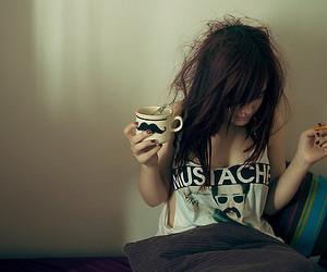 girl, mustache, and cigarette image