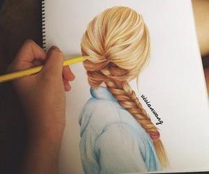 hair, drawing, and girl image