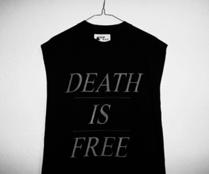 black and white, death, and t-shirt image