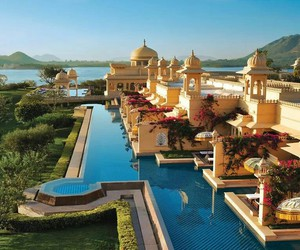india, pool, and hotel image