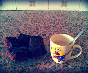 coffee, morning, and choclate cake image