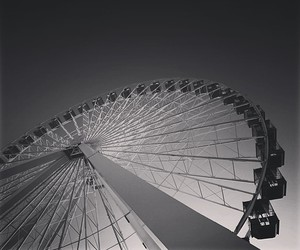 black and white, ferris wheel, and photography image