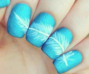 nails, blue, and feather image