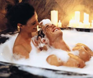 couple, bath, and romantic image