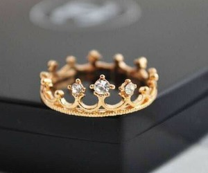 ring, crown, and gold image