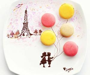 paris, food, and macarons image