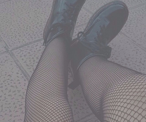 black, boots, and fishnets image