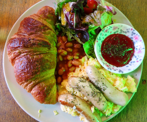 cafe, croissant, and eggs image