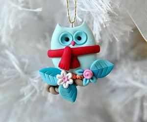 christmas, fimo, and owl image