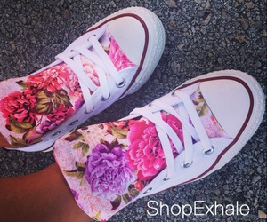 converse, flowers, and cute image