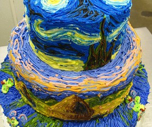 cake, painting, and van gogh image