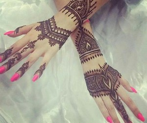 henna, pink, and nails image