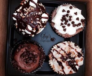 food, chocolate, and cupcake image