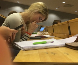 girl, pretty, and studying image