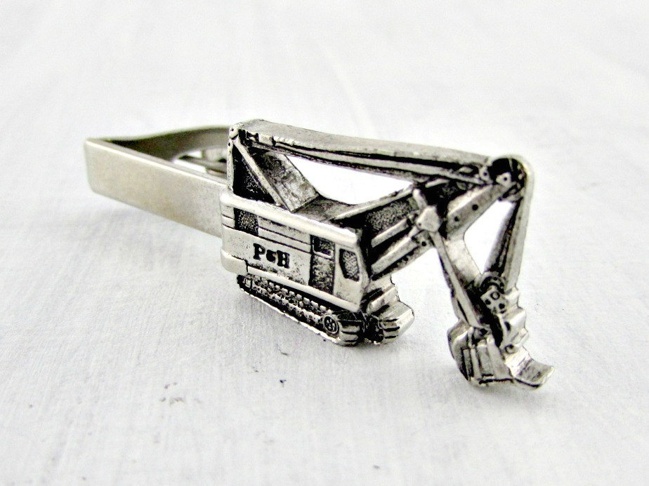 heavy equipment, silver tie clip, and mens tie clip image