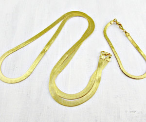 vintage mens jewelry set, mens gold chain necklace, and mens gold chain bracelet image