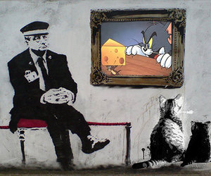 BANKSY, cats, and tomandjerry image