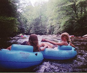 girl, river, and friends image