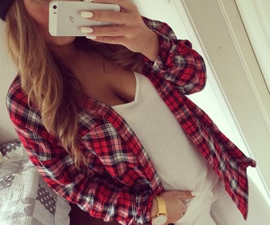 outfit, plaid, and red image