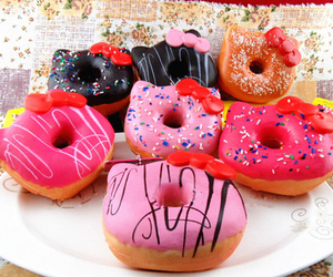 hello kitty, donuts, and pink image