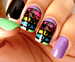 colorful, nails, and palmtrees image