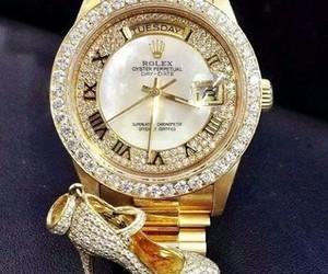 rolex, watch, and diamonds image