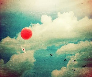 balloon, heart, and clouds image