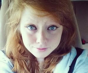 blue eyes, eyeliner, and freckles image