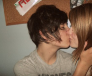 boy, kissing, and brown image