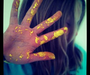 girl, paint, and yellow image