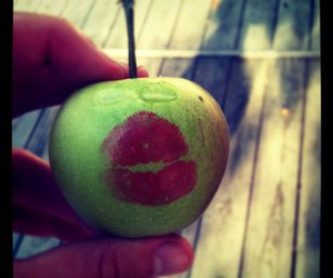 apple, mouth, and green image