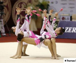 clubs, group, and rhythmic gymnastics image