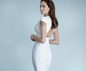 Angelina Jolie, dress, and white image