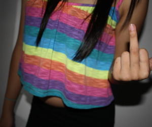 girl, middle finger, and cute image