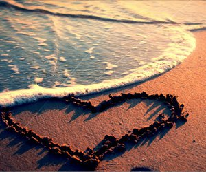beach, heart, and love image